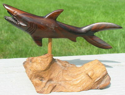 Wood Wooden Hand Carved Shark Statue Figure Philippines Fish on Tree Root Action