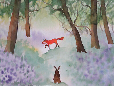 ORIGINAL WATERCOLOUR PAINTING. HARE & FOX In A Bluebell Wood. By Gina E. A5.