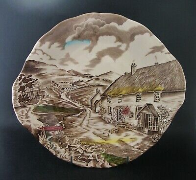 Grindley QUIET DAY CAKE SANDWICH PLATE Vintage English China Dinnerware c1940s