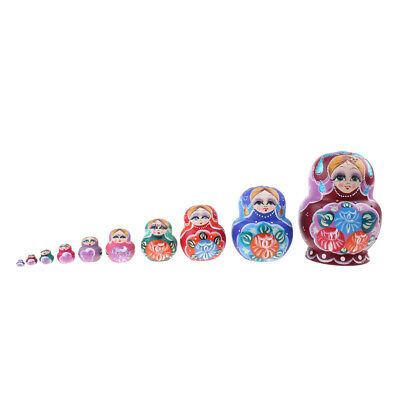 10pcs Flower Printed Wood Babushka Russian Nesting Doll Matryoshka Toy Gift