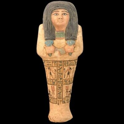 Egyptian Hieroglyphic Shabti, Late Period 664 - 332 Bc 21Cm Tall