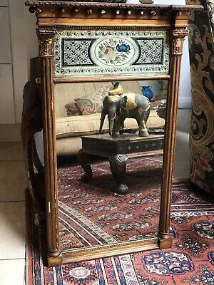 Lovely Early 19thc Pier Glass Mirror With Painted Mercury Glass Panel