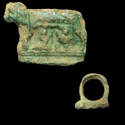 Very Rare Ancient Roman Bronze Ring Of Romulus And Remus, 1St Century Ad