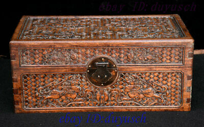 Old Chinese Huanghuali Wood Carved Foo Dog Lion Statue Jewelry Box Storage boxes