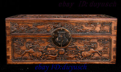 Old China Huanghuali Wood Carved Dragon Kylin Statue Jewelry Box Storage boxes