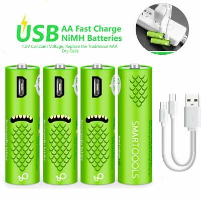 USB RECHARGEABLE AA BATTERIES 4 Pack Cell 1.2V/1000mAH ECO Friendly Recyclable