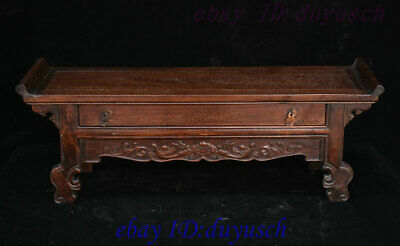 Old China Huanghuali Wood Hand Carving RuYi Statue Drawer Cabinet desk Box Boxes