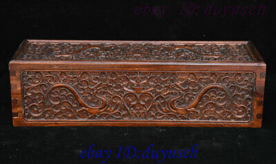 """20"""" Old China HuangHuaLi Wood handcrafted Dragon Statue paintings Box Book Boxes"""