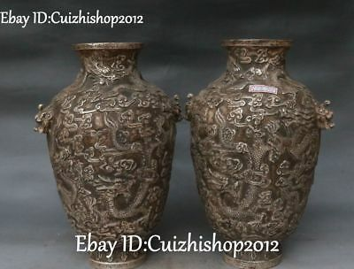 Antique China Old Silver Palace Dragon Loong Lion Head Bottle Vase Jar Pot Pair