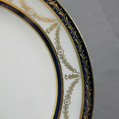 Set / 6 Coalport Porcelain Cobalt & Gold Bread / Side Plates Pattern Z2437