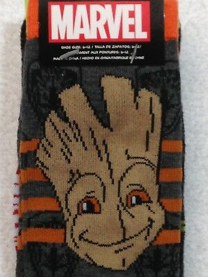 2 Pair Marvel Guardians of the Galaxy Socks GROOT and ROCKET Men's Crew Socks