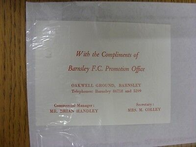 circa 1960's Barnsley: Official Compliments Slip. Thanks for viewing this item,