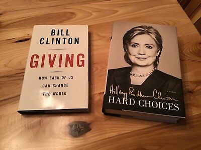 Bill Clinton Signed Giving PSA & Hillary Clinton Signed Hard Choices HC Books