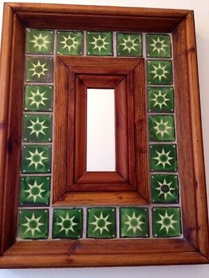 Stunning Pair Of Mirrors Blue & Green Tile And Wood Panelled - Exclellent