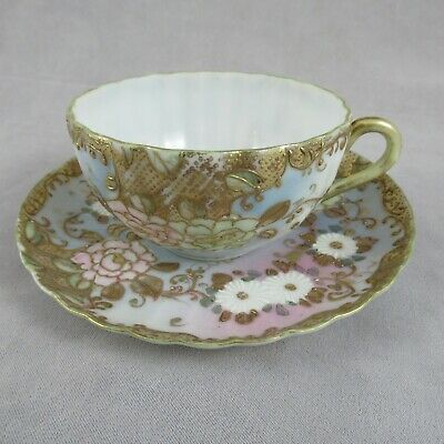Fine Hand-Painted 19th C JAPANESE EGGSHELL Porcelain Tea Cup Heavy Applied Gold