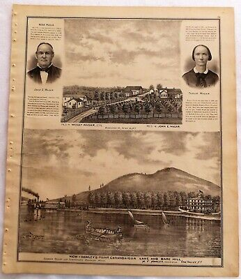 1876 NY Hawleys Point Canandaigua Lake Italy Hill Residences Print frm Atlas