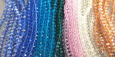 Blue Pink Brown Green Clear Chinese Crystal Rondelle Rondell 10x8mm 2 Strands