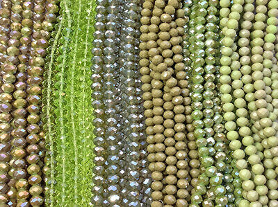 Olive Green Moss Yellow Green 8x6mm Chinese Crystal Rondelle Beads Q2 Strands
