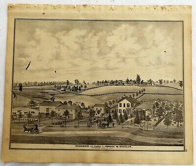 1876 NY Potter Farms & Residences Print frm Atlas