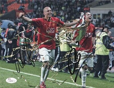 Manchester United Wes Brown Cristiano Ronaldo Autographed Signed 8x10 JSA COA