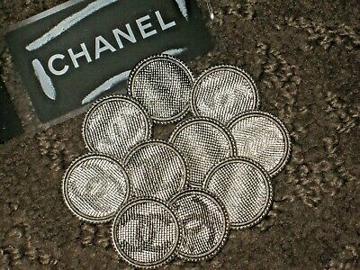 Chanel 10 Clean  Silver  Cc Logo  Metal   Buttons  16  Mm/ Under 3/4''  Lot 10