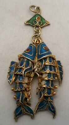 c1920s Vintage Chinese Articulated Enamel Gilded Silver Koi Fish Pendant