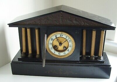 Antique Black slate/marble MANTEL CLOCK with MEDAILLE DE BRONZE movement