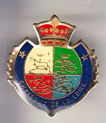 Rare Pins Pin's .. Tourisme Chateau Castle De Loire Blason Arm Ecusson ~Cc