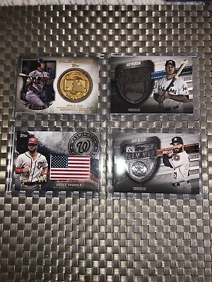 2018 Topps Series 1 + 2 Relic Lot Of 4 Bryce Harper, Mauer, Altuve, Bour