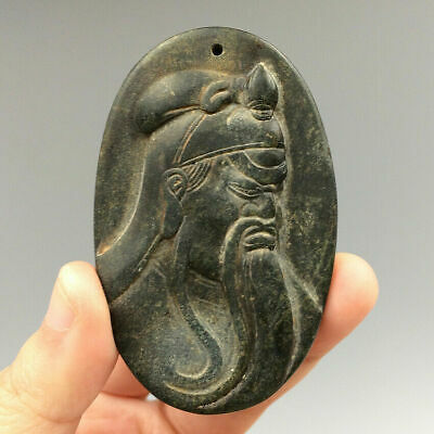 Magnetic Field Meteorite Pallasite Hand Carved Ancient Guan Yu Statue Pendants