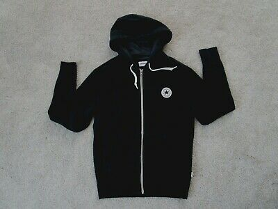 bed9a8d776b6 Converse Hoodie Black M Front Zip Chuck Taylor All Star Cotton Front Pocket