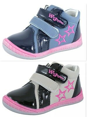New Baby Girls Black Navy Leather Lined Trainers Toe Caps Straps Walking Shoes