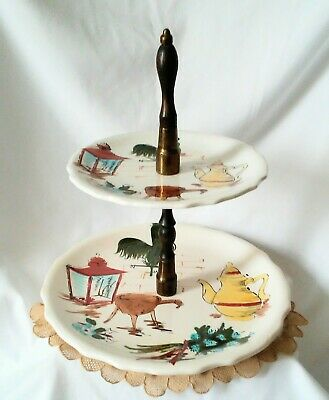 """Mid Century Mod Tid Bit Serving Dishes, 2 Tier, Wood Spacers, Rooster 11"""" high"""