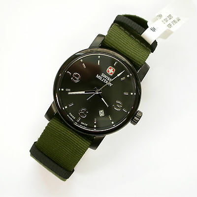 New Gents $195 Wenger Sm 41Mm Black Dial Pvd Ss Watch W/green Canvas Band 041330