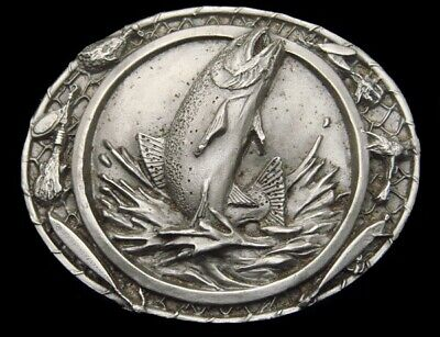 Rg20156 *Nos* Vintage 1986 **Rainbow Trout** Fishing Pewter Belt Buckle