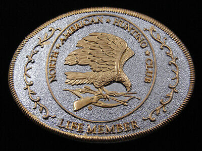 RE05126 VINTAGE 1980s **NORTH AMERICAN HUNTING CLUB LIFE MEMBER** BELT BUCKLE