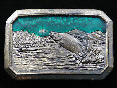 Rf15129 Vintage 1977 **Trout Fishing** Commemorative Brasstone Belt Buckle