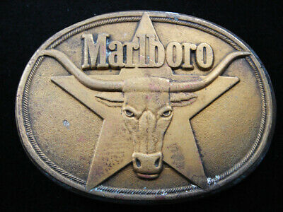 Rh01111 Vintage 1987 **Marlboro** Cigarettes & Tobacco Solid Brass Belt Buckle