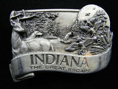 Rh05104 Vintage 1984 **Indiana The Great Escape** Pewter Belt Buckle