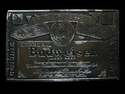 MI05119 VINTAGE 1970s **GENUINE BUDWEISER LAGER BEER** BELT BUCKLE