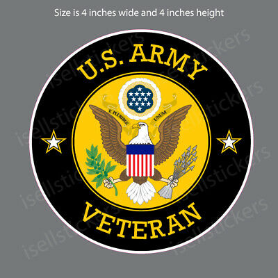 AR-2208 US Army Veteran Military Soldier Circle Bumper Sticker Car Window Decal