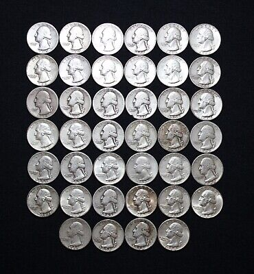 One Roll Of (40) $10 Face Value 90% Silver Washington Quarters Pre 1964