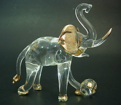 LARGE Glass ELEPHANT Golden Circus Animal African Glass Animal Glass Ornament