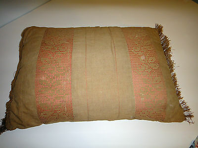 LARGE Antique Victorian  PILLOW Trim OLD LINEN Floral Crochet primitive
