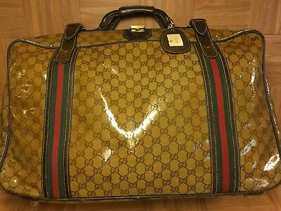 VTG🇮🇹 GUCCI GG Logo Monogram Brown Leather Carry On Travel Luggage Bag Italy