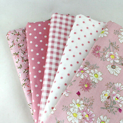 5 PCS Assorted Floral DIY Craft Pre Cut Charm 25cm*25cm Quilt Cotton Fabric Pink