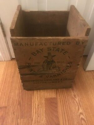 RARE  Pilgrim VTG Paints & Varnishes CRATE BAY STATE BOSTON WOOD SHIPPING BOX