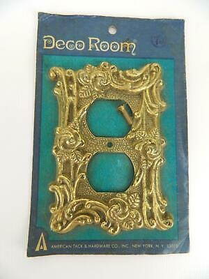 NOS Vintage American Tack & Hardware Antique Brass Deco Room Outlet Plate Cover
