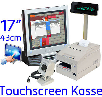 "17 "" Touchscreen Cash Register System Receipt Printer Barcode Scanner Retail #"
