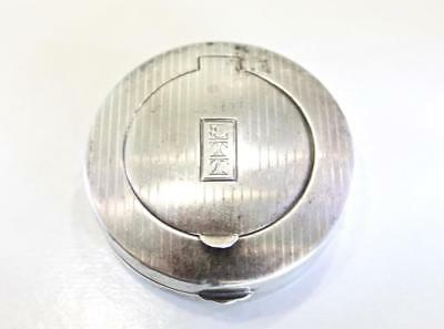 Exquisite Antique Sterling Silver Wallace Compact Powder Puff & Mirror 1922